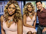 """UNIVERSAL CITY, CA - JUNE 22:  Laverne Cox (L) and Mario Lopez visit """"Extra"""" at Universal Studios Hollywood on June 22, 2016 in Universal City, California.  (Photo by Noel Vasquez/Getty Images)"""