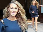 June 22, 2016: Pregnant Blake Lively shows off her legs in a minidress as she leaves her hotel in New York City. \nMandatory Credit: Peter Cepeda/INFphoto.com Ref: infusny-259