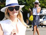 Santa Monica, CA - Reese Witherspoon is pretty in pleats while out running errands wearing her own brand Draper James. Reese looks Summer ready in a white and navy blue fedora, sleeveless white blouse, high waisted navy pleated skirt, navy wedged sandals, and a bright yellow purse.\n  \nAKM-GSI       June 21, 2016\nTo License These Photos, Please Contact :\nMaria Buda\n(917) 242-1505\nmbuda@akmgsi.com\nsales@akmgsi.com\nMark Satter\n(317) 691-9592\nmsatter@akmgsi.com\nsales@akmgsi.com\nwww.akmgsi.com