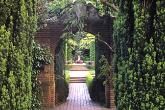 View through Filoli Garden to Sundial in Walled Garden