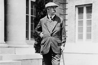 Mr. William Bowers Bourn II at Filoli during construction, 1917.