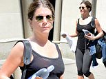 """EXCLUSIVE TO INF.\nJune 24, 2016: Jennifer Aniston is pictured this morning leaving the Gym wearing sandals and showing her foot tattoo that says """"Norman"""" in New York City.\nMandatory Credit: Elder Ordonez/INFphoto.com Ref: infusny-160"""