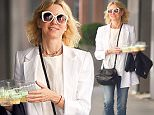 New York, NY - Actress, Naomi Watts, carries half-dozen cupcakes as she walks in NYC with a friend.  She was seen in a white baggy blazer, white tee, jeans, black sandals and white round sunglasses.\n  \nAKM-GSI      June 24, 2016\nTo License These Photos, Please Contact :\nMaria Buda\n(917) 242-1505\nmbuda@akmgsi.com\nsales@akmgsi.com\nMark Satter\n(317) 691-9592\nmsatter@akmgsi.com\nsales@akmgsi.com\nwww.akmgsi.com