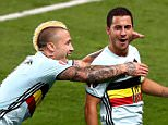 TOULOUSE, FRANCE - JUNE 26:  Eden Hazard (R) of Belgium celebrates scoring his team's third goal with his team mates Michy Batshuayi (L) and Radja Nainggolan (C) during the UEFA EURO 2016 round of 16 match between Hungary and Belgium at Stadium Municipal on June 26, 2016 in Toulouse, France.  (Photo by Dean Mouhtaropoulos/Getty Images) ***BESTPIX***