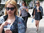 West Hollywood, CA - Emma Roberts grabs an iced coffee on a warm Summer day with a friend. Emma looks cute in a denim jacket, floral printed dress, and Converse sneakers.\nAKM-GSI          June 28, 2016\nTo License These Photos, Please Contact :\nMaria Buda\n(917) 242-1505\nmbuda@akmgsi.com\nsales@akmgsi.com\nor \nMark Satter\n(317) 691-9592\nmsatter@akmgsi.com\nsales@akmgsi.com\nwww.akmgsi.com