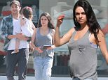 Exclusive... 52104724 Pregnant Mila Kunis, Ashton Kutcher, and their daughter Wyatt Kutcher get breakfast in Beverly Hills, California on June 26, 2016.  At one point, Wyatt was a little unhappy and Mila tried to comfort her. FameFlynet, Inc - Beverly Hills, CA, USA - +1 (310) 505-9876