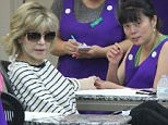Beverly Hills, CA - Jane Fonda starts her week off right by getting a manicure and pedicure at the nail salon. Jane looks great in a black and white striped top, black pants, and black wedged sandals, but doesn't seem to be in the mood for cameras as she hides her face while exiting the building.    AKM-GSI       June 27, 2016 To License These Photos, Please Contact : Maria Buda (917) 242-1505 mbuda@akmgsi.com sales@akmgsi.com Mark Satter (317) 691-9592 msatter@akmgsi.com sales@akmgsi.com