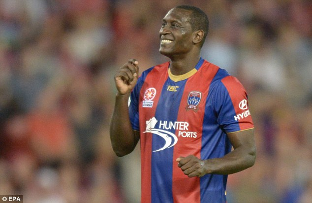 Happy days: Newcastle Jets admitted they are delighted to keep hold of Heskey for another year