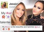 Jessica Alba ?@jessicaalba  Jun 22\nMy #wcw is the beautiful and talented @JLo ?????
