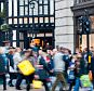 A general view of street busy with shoppers in London, England.
