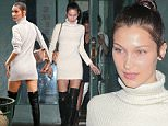 New York, NY - Young model Bella Hadid steps out in sexy black leather knee high boots and sweater dress, as she heads out for the evening with friends in the city.\n \n AKM-GSI June 29, 2016\nTo License These Photos, Please Contact :\nMaria Buda\n(917) 242-1505\nmbuda@akmgsi.com\nsales@akmgsi.com\nor \nMark Satter\n(317) 691-9592\nmsatter@akmgsi.com\nsales@akmgsi.com\nwww.akmgsi.com\n