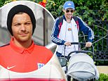 Louis Tomlinson smiles as he takes his son Freddie Reign for an afternoon stroll in Los Angeles, CA....Pictured: Louis Tomlinson..Ref: SPL1266802  190416  ..Picture by: VIPix / Splash News....Splash News and Pictures..Los Angeles: 310-821-2666..New York: 212-619-2666..London: 870-934-2666..photodesk@splashnews.com..