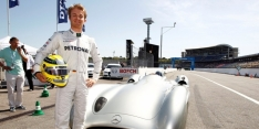 Rosberg drives Fangio's Mercedes at Hockenheim