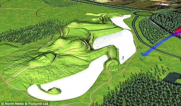An artist's impression shows the scale of the impressive sculpture