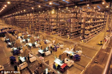 The huge stacking warehouse of Tesco, Britain