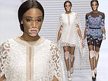 epa05405487 Canadian model Winnie Harlow presents a creation from the Spring/Summer 2017 Women's collection by Jakarta designer Sebastian Gunawan during the Paris Fashion Week, in Paris, France, 03 July 2016. The presentation of the Women's collections runs from from 03 to 07 July.  EPA/JEREMY LEMPIN