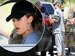 Monday, July 4, 2016 - Jessica Alba is accompanied by daughters Honor and Haven as they stop to pick several cart-loads of groceries for the Fourth of July holiday in Malibu, CA. Alba goes casual in sweats and sandals and wears a baseball cap and large angled hoop earrings. DR/X17online.com