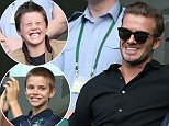 Mandatory Credit: Photo by James Gourley/REX/Shutterstock (5745187bo)\nDavid Beckham with his sons Cruz (l) and Romeo (r) during day ten of the 2016 Wimbledon Championships at the All England Lawn Tennis Club, Wimbledon, London on the 6th July 2016\nWimbledon Tennis Championships, London, UK - 06 Jul 2016\n