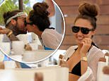 TOWIES Pete Wicks and Megan McKenna get close over dinner at their hotel beach bar. Featuring: Pete Wicks, Megan McKenna Where: Majorca, Spain When: 07 Jul 2016 Credit: WENN.com