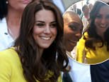 THE DUCHESS OF CAMBRIDGE AT WIMBLEDON. PICTURE MURRAY SANDERS DAILY MAIL\n