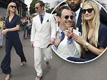 JUDE LAW AND PHILIP COAN ARRIVE AT WIMBLEDON... PICTURE MURRAY SANDERS DAILY MAIL\n