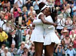 Serena and Venus Williams celebrate victory in the women's doubles on day twelve of the Wimbledon Championships at the All England Lawn Tennis and Croquet Club, Wimbledon. PRESS ASSOCIATION Photo. Picture date: Saturday July 9, 2016. See PA story TENNIS Wimbledon. Photo credit should read: Steve Paston/PA Wire. RESTRICTIONS: Editorial use only. No commercial use without prior written consent of the AELTC. Still image use only - no moving images to emulate broadcast. No superimposing or removal of sponsor/ad logos. Call +44 (0)1158 447447 for further information.