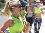 """Studio City, CA - Julianne Hough, Derek Hough, and Brooks Laich host a 2 mile run in Studio City for Pulse Fitness Studio. Julianne is wearing printed leggings paired with a bright neon crop top as she runs with a smile. Derek give a """"rock on"""" as makes his way down the route. Laich takes it easy on the running and grabs a skateboard for the challenge. \nAKM-GSI          July 9, 2016\nTo License These Photos, Please Contact :\nMaria Buda\n(917) 242-1505\nmbuda@akmgsi.com\nsales@akmgsi.com\nor \nMark Satter\n(317) 691-9592\nmsatter@akmgsi.com\nsales@akmgsi.com\nwww.akmgsi.com"""
