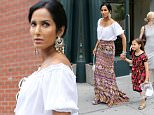 New York, NY - Padma Lakshmi steps out with her daughter Krishna looking cute in matching patterned skirt/ dress.\nAKM-GSI          July 9, 2016\nTo License These Photos, Please Contact :\nMaria Buda\n(917) 242-1505\nmbuda@akmgsi.com\nsales@akmgsi.com\nor \nMark Satter\n(317) 691-9592\nmsatter@akmgsi.com\nsales@akmgsi.com
