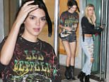 New York, NY - Kendall Jenner and Hailey Baldwin are spotted heading for a night out in the Big Apple. Kendall is spotted heading to pick up her BFF Hailey at her hotel. The pair look casual as they head to their destination. Jenner shows some major leg in a pair of short shorts while Baldwin showed some attitude in her ripped and distressed denim.\nAKM-GSI       July 9, 2016\nTo License These Photos, Please Contact :\nMaria Buda\n(917) 242-1505\nmbuda@akmgsi.com\nsales@akmgsi.com\nor \nMark Satter\n(317) 691-9592\nmsatter@akmgsi.com\nsales@akmgsi.com\nwww.akmgsi.com