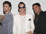 """LOS ANGELES, CA - JULY 07:  (L-R) Television personality Tom Schwartz, actor Tom Sandoval and television personality Jax Taylor attend """"Vanderpump Rules"""" star Tom Sandoval's Project Elev8 birthday fund-rager at Busby's East on July 7, 2016 in Los Angeles, California.  (Photo by Tasia Wells/Getty Images)"""