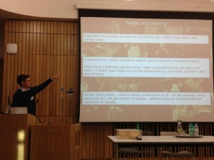 Photo of me speaking about reflection at the Uni of Edinburgh's IT Futures Conference