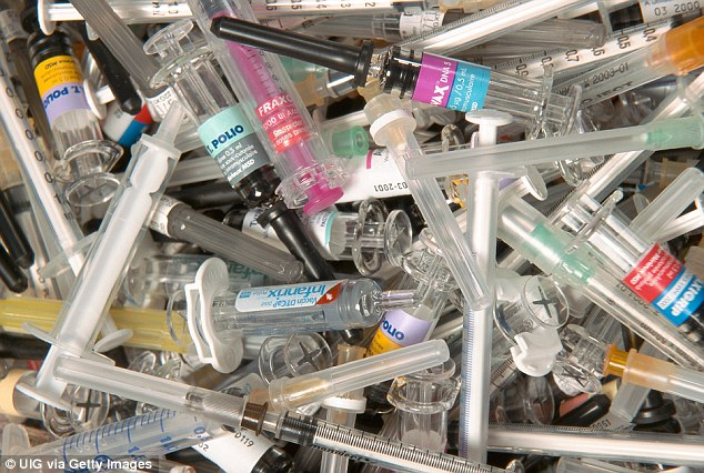 Antibiotics were delivered to the surgical theatre in a sealed bag and contained in a clean, but not sterile, syringe (stock)