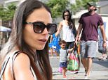 10.July.2016 - Pacific Palisades ? USA\n*** STRICTLY AVAILABLE FOR UK AND GERMANY USE ONLY ***\nPacific Palisades, CA - Jordana Brewster and her husband Andrew Form take their son Julian Form-Brewster to the Farmer's Market on Sunday. Jordana keeps it casual in leggings and a white tank top paired with pink sneakers. \nBYLINE MUST READ : AKM-GSI-XPOSURE\n***UK CLIENTS - PICTURES CONTAINING CHILDREN PLEASE PIXELATE FACE PRIOR TO PUBLICATION ***\n*UK CLIENTS MUST CALL PRIOR TO TV OR ONLINE USAGE PLEASE TELEPHONE 0208 344 2007*\n