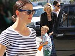 Pacific Palisades, CA - Jennifer Garner and her mother-in-law take the kids to Sunday church service. The actress and mother of three is wearing a navy blue skirt and striped tee paired with simple navy sandals. An enthusiastic Violet is seen rushing inside. \nAKM-GSI          July 10, 2016\nTo License These Photos, Please Contact :\nMaria Buda\n(917) 242-1505\nmbuda@akmgsi.com\nsales@akmgsi.com\nor \nMark Satter\n(317) 691-9592\nmsatter@akmgsi.com\nsales@akmgsi.com\nwww.akmgsi.com