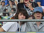 Mick Jagger and his son Lucas are seen at the final match of Euro 2016 Portugal vs France at the Stade de France in Saint- Denis, France. Mick Jagger, Lucas Jagger 11 July 2016. Please byline: Vantagenews.com