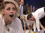 Jimmy Fallon and Kristen Stewart face off in a game of Twister where they have to take a Jell-O shot every time they place a body part on a colored spot on the Tonight Show\n