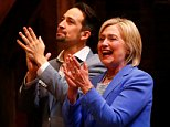 """U.S. Democratic presidential candidate Hillary Clinton (R) and actor Lin-Manuel Miranda applaud after a special performance of the broadway musical """"Hamilton"""" in, Manhattan, New York, U.S., July 12, 2016.  REUTERS/Adrees Latif"""