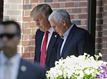 Republican presidential candidate Donald Trump leaves the Indiana Governor's residence with Gov. Mike Pence in Indianapolis, Wednesday, July 13, 2016. (AP Photo/Michael Conroy)