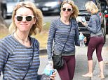 Please contact X17 before any use of these exclusive photos - x17@x17agency.com   Monday, July 11, 2016 - Naomi Watts is fresh-faced and looking amazing as she leaves a workout in Brentwood, CA. The 47-year-old actress is all smiles, staying hydrated and sporting maroon capri leggings, a blue and grey striped shirt, sunglasses and Havainas flip-flops. Green/X17online.com