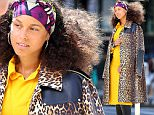 07/11/2016\nEXCLUSIVE: Alicia Keys spotted in New York City on the Lower East Side today looking a little larger in the waist. The 35 year old mother of two with husband Swizz Beatz stepped out in a bright yellow frock and a leopard skin three quarter length coat. \nPlease byline:TheImageDirect.com\n*EXCLUSIVE PLEASE EMAIL sales@theimagedirect.com FOR FEES BEFORE USE