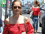 Los Angeles, CA - Minka Kelly is seen leaving lunch at Cheebo Restaurant. The 36-year-old actress is wearing boyfriend jeans and an off the shoulder red, polka dot top paired with sandals which is sure to inspire Summer looks.    AKM-GSI      July 11, 2016 To License These Photos, Please Contact : Maria Buda (917) 242-1505 mbuda@akmgsi.com sales@akmgsi.com or  Mark Satter (317) 691-9592 msatter@akmgsi.com sales@akmgsi.com www.akmgsi.com