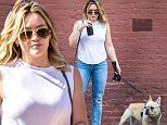 EXCLUSIVE: Hilary Duff seen walking her beloved French bulldog Peaches while taking break from filming in New York City.\n\nPictured: Hilary Duff\nRef: SPL1315822  110716   EXCLUSIVE\nPicture by: Splash News\n\nSplash News and Pictures\nLos Angeles: 310-821-2666\nNew York: 212-619-2666\nLondon: 870-934-2666\nphotodesk@splashnews.com\n