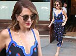 July 12, 2016: Actress Kristen Wiig is seen leaving her New York City hotel this morning wearing a blue strawberry print dress.\nMandatory Credit: Peter Cepeda/INFphoto.com Ref: infusny-259