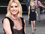 July 11, 2016:  Emma Roberts out and about wearing a sheer black dress in New York City.\nMandatory Credit: Dara Kushner/INFphoto.com Ref: infusny-05/42