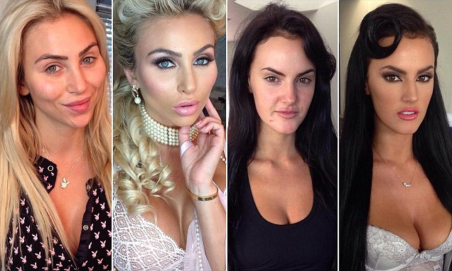 Playboy pin-ups and nude models show off make-up-free faces in images