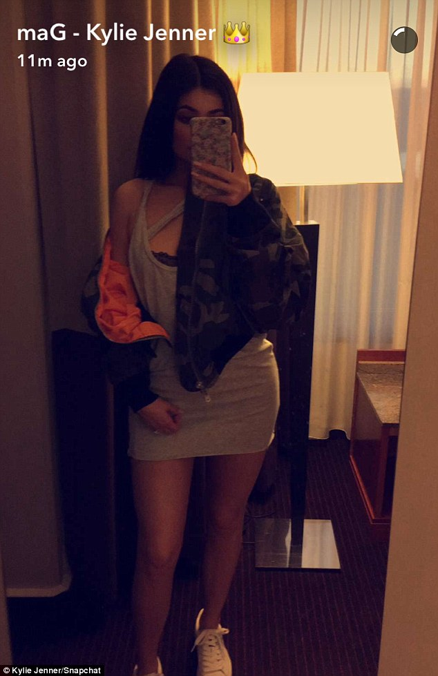 Mirror, mirror: The reality star showed off her tiny grey mini dress in a mirror selfie shared on Monday