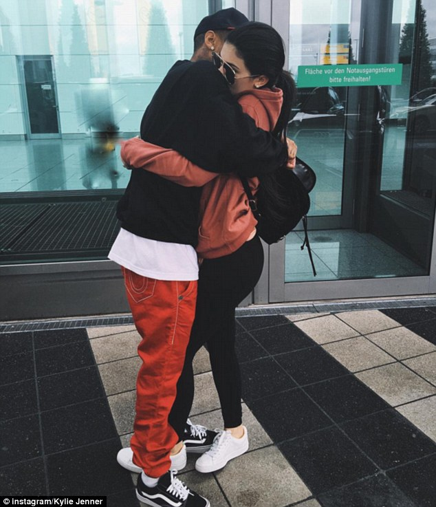 'Bye bye': Kylie, 18, shared another snap on her Instagram page of the loved-up pair appearing to say their goodbyes to one another at the airport