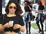"""Studio City, CA - Actress, Vanessa Hudgens, proves that she is no """"helpless diva"""" by heading out to get her own groceries at Ralph's. Though an eye witness reports that the ex-Disney darling did indulge herself with a morning massage. The 27-year old starlet looks adorable in a tied black tee, leggings, messy hair, and sunglasses.  \nAKM-GSI      July 12, 2016\nTo License These Photos, Please Contact :\nMaria Buda\n(917) 242-1505\nmbuda@akmgsi.com\nsales@akmgsi.com\nor\nMark Satter\n(317) 691-9592\nmsatter@akmgsi.com\nsales@akmgsi.com\nwww.akmgsi.com"""