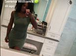 """Serena snaps an olive dress with """"petal front"""" from her HSN collection"""
