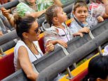 EXCLUSIVE: Eva Longoria enjoys a day at Universal Studios Hollywood with her family . Eva and her family made a big splash riding the Jurassic park ride and many of the other theme park's thrill rides including the mummy ride and transformers. the former housewife was also seen enjoying herself in the harry potter area of the theme park and spent some time on the Minions ride  Pictured: Eva Longoria Ref: SPL1316390  110716   EXCLUSIVE Picture by: Fern / Splash News  Splash News and Pictures Los Angeles: 310-821-2666 New York: 212-619-2666 London: 870-934-2666 photodesk@splashnews.com